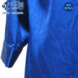 青いV襟足のLongsleeveのジッパーポケットボタンの緩くセクシーなブラウス