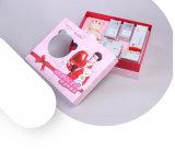 Caixa ajustada do cosmético impermeável encantador da cor-de-rosa do cartão
