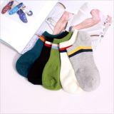 Einfache reine Farbe in der hellen Streifen-Baumwollknöchel-Socke