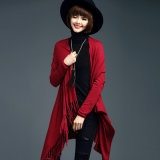 Lady Fashion Viscose Nylon Knitted Fringe Cardigan Sweater (YKY2069)