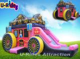 Bouncer inflável da princesa cor-de-rosa do carro da cor com corrediça