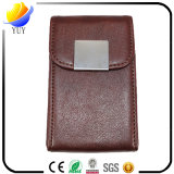 Caisse de carte nommée en cuir rouge en métal de support et de cuir de carte de visite professionnelle de visite de mode