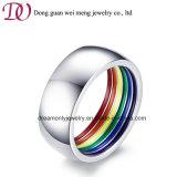 Monili d'acciaio dell'anello del foro del Rainbow dello smalto dello smalto d'acciaio interno dell'anello