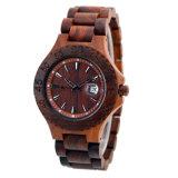 Relógio de madeira do Sandalwood vermelho da curvatura