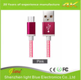 Cable trenzado del USB del manguito micro del metal