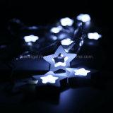 Indicatori luminosi leggiadramente della stringa della decorazione di natale della batteria di legno dell'interno bianca della stella