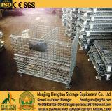 Jaula plegable plegable con los separadores para el almacenaje, jaula de la paleta del acoplamiento de alambre de acero del envase de la cesta del acoplamiento de alambre