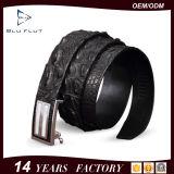 Form-Luxus geprägte Firmenzeichen-echte schwarze Alligatorleder-Faltenbildung-Riemen