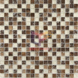 Mattonelle di mosaico di cristallo Cracked della miscela di pietra scura di Emperador (CS128)