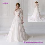 V платье венчания втулки шнурка шеи половинное