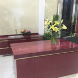 Rotes Shine Crystallized Glass Stone Kitchen Tops mit Cabinets