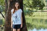 Druck-neuer Entwurfs-runde Stutzen-Frauen-Shirt-Oberseiten