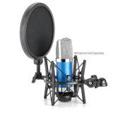 """Montaje de choque negro del micrófono Sh100 y 5.9 """" manojos del filtro del estallido del diámetro para los micrófonos del diámetro de 21m m (0.82 """")"""