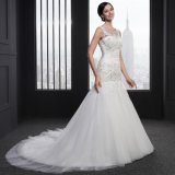 Mermaid O-Neck Lace up Appliques Beading Wedding Dress (SLJ-005)