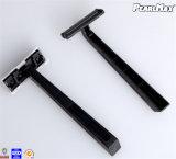 Lâmina descartável com lubrificação, punho plástico das lâminas gêmeas