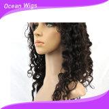 Quercy Hair 20inchブラジルのVirgin Hair Natural Full Lace Wig Human Hair Deep Wave (HW-036)