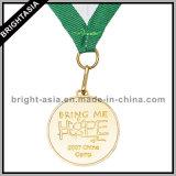 Kundenspezifisches Gold Medal mit Medal Ribbon für Sport (BYH-10731)