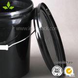 I secchi di plastica rotondi neri della 1 benna di gallone per vernice con la maniglia del metallo