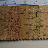 Couro artificial do plutônio da grão de madeira para a sapata (HSTC035)