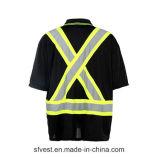 T-shirt r3fléchissant de sûreté de qualité avec la couleur noire