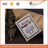 Escritura de la etiqueta tejida diseño al por mayor modificada para requisitos particulares del paño de la materia textil de la tela para la impresión