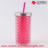 Straw와 Cover를 가진 두 배 Wall Acrylic Water Cup