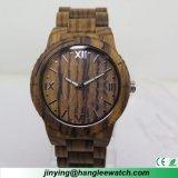 Montre en bois normale pure de montre en bois de zèbre de calendrier d'OEM