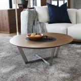 Журнальный стол OEM деревянный круглый с основанием нержавеющей стали (CTS-006)