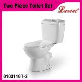 Toilette en deux pièces fixée au sol de Siphonic de bouton de dessus de salle de bains de porcelaine de nettoyage d'individu