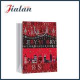 Sacco di carta del regalo rosso & nero di arte di natale laminato lucido del documento