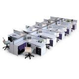 Sitio de trabajo de cristal del escritorio de oficina del marco de aluminio del diseño moderno (SZ-WST612)