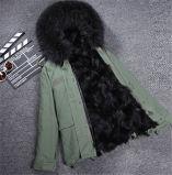 Pele de Fox cor-de-rosa da forma que alinha o revestimento real removível do colar da pele do Raccoon do inverno das mulheres quentes da venda densamente