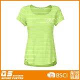 Streifen-Form-schnelles trockenes T-Shirt der Frauen