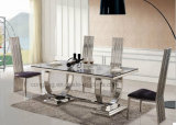 Mobília de vidro Home chinesa moderna da sala de jantar do metal