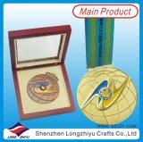 Medalla de encargo del metal con el rectángulo de regalo de madera del caso de visualización para la venta