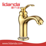 Brass antiguo Basin Mixer con Gold Finish