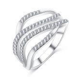 最新のデザインCZは鳴らす女性(CRI1021)のためのダイヤモンドのカスタムリングを