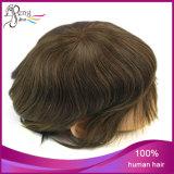 Toupee brasileiro dos homens de Brown 8*10 Lace+PU do cabelo do Virgin
