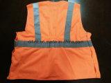 Veste da segurança com teclas instantâneas e tela 100%Polyester de confeção de malhas alaranjada da gripe do plissado