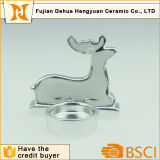 Électrodéposition du support de bougie en céramique de forme de cerfs communs pour la décoration de Noël