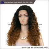 Perruques normales bouclées d'avant de lacet de cheveux humains