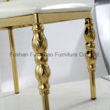 Cadeira graciosa do casamento da parte traseira redonda de aço inoxidável do metal com o coxim branco do plutônio