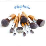 11PCS Kabuki Puder-Basisblusher-Bambusgriff-kosmetischer Pinsel