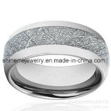 Anillo de plata embutido natural de la joyería del tungsteno de la fibra del carbón