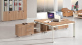Mesa de escritório de madeira moderna da equipe de funcionários da mobília com biblioteca da parede