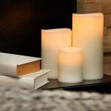 一定3PCSは機能Flameless LED蝋燭の白い柱の電子蝋燭を滴り吹かない