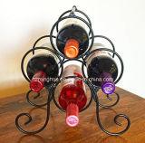Crémaillère moderne de mémoire de vin en métal de 4 bouteilles pour la maison