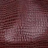 Couro artificial do PVC do plutônio do crocodilo de Borgonha para o saco