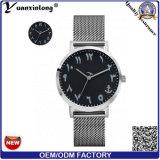Hommes arabes neufs de montre de numéro de bande en acier de maille de poignet de Madame montre de plaque d'or de montres-bracelet de promotion de mode de montre de quartz du modèle Yxl-408 2017