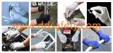 13 gants enduits blancs Dpu512 d'unité centrale de fleur de mesure de modèle de doublure rouge de polyester